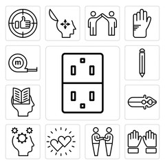 Set of Socket, Hand, Friendship, Hearts, Mind, Pliers, Intellectual, Pencil, Measuring tape icons