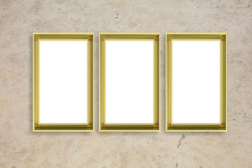 Frames golden isolated on beige wall background copy space, 3d illustration