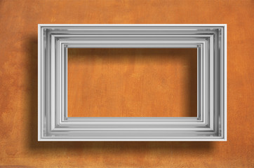 Frame silver isolated on orange wall background copy space, 3d illustration