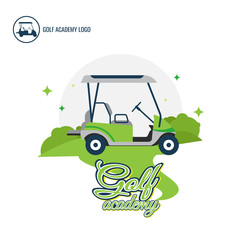 Logo Golf car logo Design Collection. Freeform. Normal people's sport. symbol. Abstract. vector illustration. on white background. Championship. Academy. Training Center. green. flag. hole in one