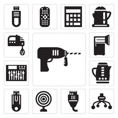 Set of Driller, Light bulbs, Turned off, Video call, Data storage, Kitchen pack, Antenna, Frig, pack icons