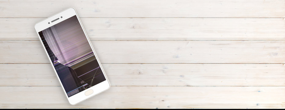 Smartphone with broken screen isolated on wooden background, copy space, banner. 3d illustration
