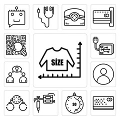 Set of size chart, punch card, 30 minutes, tattoo gun, bail, profile pic, founder, external hard drive, qr scanner icons