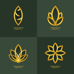 lotus Golden logo Design Collection. Freeform. symbol. Abstract. vector illustration. on green background. Resort. beautifully. flower. yoga. luxury. silver. brand. studio. icon