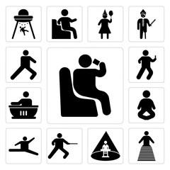Set of Person sitting and drinking, Bride, Abducted Man, Man practicing fencing, Jumping dancer, Meditation Pose, having a bath, Watching smartphone, Leg stretch icons