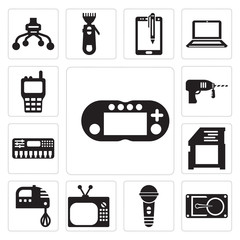Set of Video games, Tools and utensils, Karaoke, player, Kitchen pack, Electronic music, Driller, Walkie talkie icons