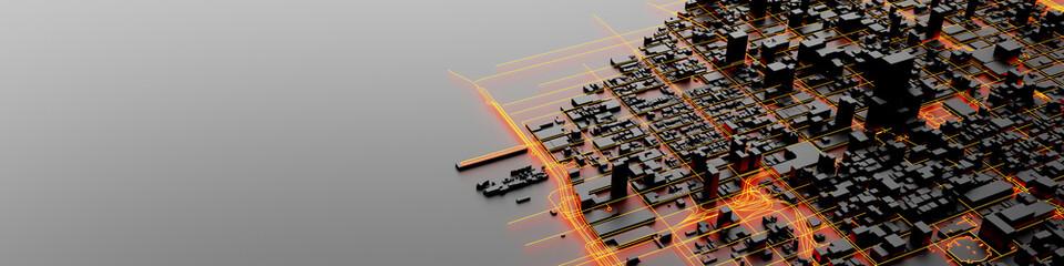 Techno mega city; urban and futuristic technology concepts, original 3d rendering Fototapete