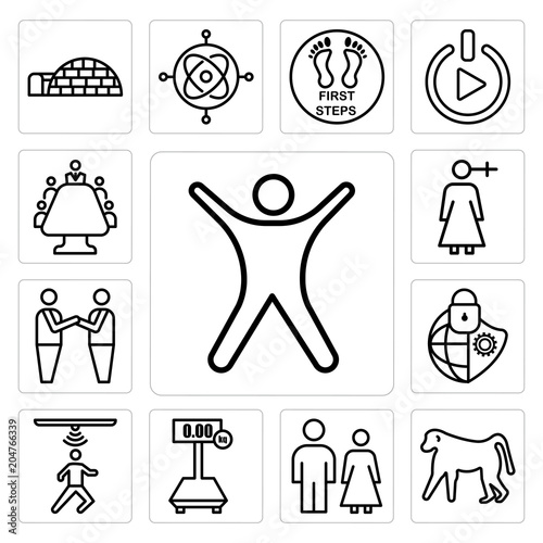 Set of stickman, baboon, family law, tare, motion capture