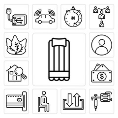Set of air mattress, tattoo gun, input output, sitting down, emption, capital expense, home inspector, profile pic, kale icons