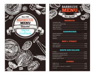 Bbq Grill Restaurant Food Menu Design. Barbecue Café Brochure On Chalkboard