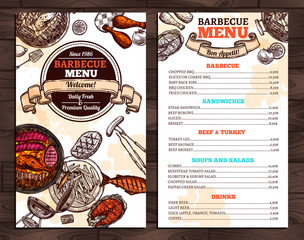 Barbecue Restaurant Menu. Template Design
