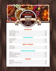 Barbecue Restaurant Menu. Template Design Of Bbq Brochure