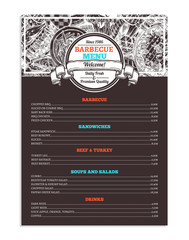 Barbecue And Grill Restaurant Menu. Template Design Of Bbq Brochure On Chalkboard