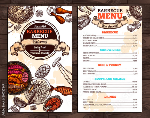 barbecue restaurant menu template design stock image and royalty