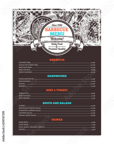 barbecue and grill restaurant menu template design of bbq brochure