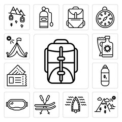 Set of Backpack, Mountain, Boat, Ski, Goggles, Oxygen tank, Passport, Sun cream, Tent icons
