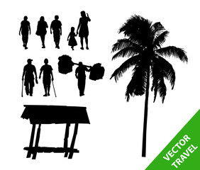 Walking to travel in forest  people,set of vector silhouettes.