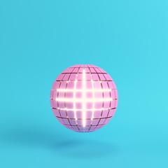 Abstract segmented pink sphere glowing inside on bright blue background in pastel color