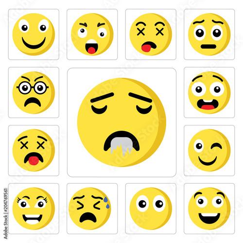 Set of Drool emoji, Happy Muted Nervous Smart Wink Dead Ugly