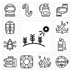 Set of Forest, Porthole, Camping, Life saver, Luggage, Oxygen tank, Raft, Backpack icons