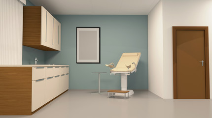 Gynecologist Office, Examination of the gynecologist. 3D rendering.. Empty paintings
