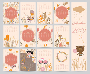 Colorful cute monthly calendar 2018 with bear,car,girl,leaf,flower,wreath.Can be used for web,banner,poster,label and printable