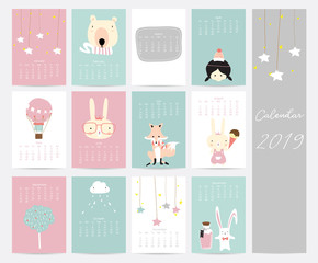 Colorful cute monthly calendar 2019 with star,bear,girl,balloon,rabbit,fox and tree.Can be used for web,banner,poster,label and printable