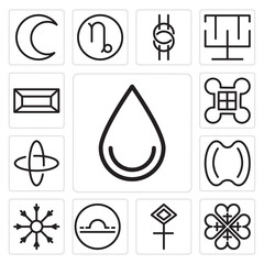 Set of Water, Gods protection, Sulphur, Libra, Salt, Hope, Hypocrisy, Excellence, Gold icons