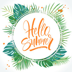 Hello Summer lettering on tropical palm leaves floral background. Brush painted letters, template for banner, flyer or gift card. Modern calligraphy, vector illustration
