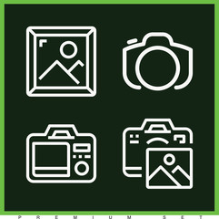 Set of 4 photo outline icons