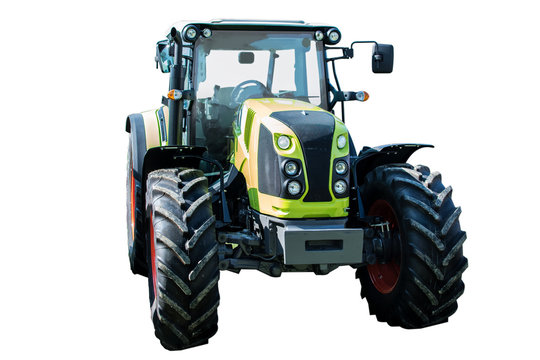 New and modern green agricultural generic tractor isolated on white background