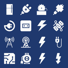 Set of 16 electrical filled icons