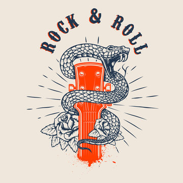 Rock and roll .Guitar head with snake and roses. Design element for poster, card, banner, emblem, t shirt.