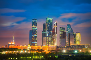View on Moscow City at night