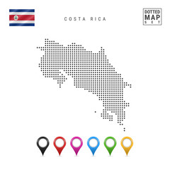 Vector Dotted Map of Costa Rica. Simple Silhouette of Costa Rica. Flag of Costa Rica. Set of Multicolored Map Markers