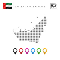 Vector Dotted Map of United Arab Emirates. United Arab Emirates Silhouette. United Arab Emirates Flag. Map Markers Set
