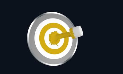 Farbe ins Leben! gelber Farbstrahl auf Zielscheibe . 3d render