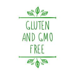 Gluten And GMO Free Hand Drawn Vignetts Design, Vector.