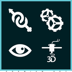 Set of 4 symbols filled icons