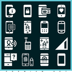 Set of 16 cellphone filled icons