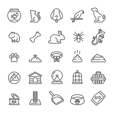 Pet related icons: thin vector icon set, black and white kit