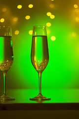 Champagne glasses in disco party bar