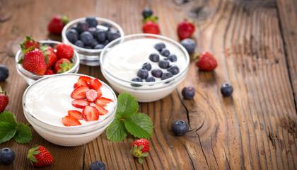 Healthy breakfast fresh yogurt with berry fruits