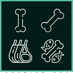 Set of 4 bones outline icons