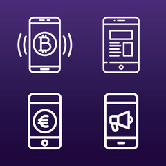 Cellphone icon set - outline collection of 4 vector icons
