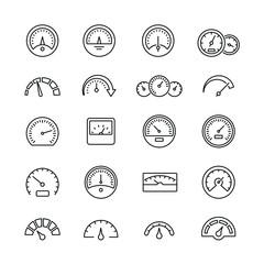 Speedometer icons: thin vector icon set, black and white kit