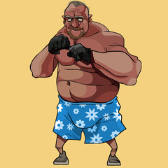 cartoon funny man old boxer in floral shorts