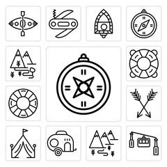 Set of Compass, Cable car cabin, Hiking, Caravan, Tent, Arrow, Lifesaver, Lifebuoy, Hiking icons