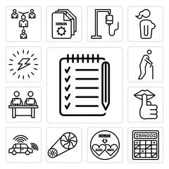 Set of checklist, bingo card, interracial, flywheel, autonomous vehicle, hush, coworking space, senior citizen, energizing icons