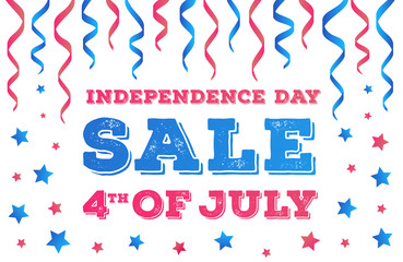 Vector independence day sale banner on white background. Fourth of july greeting card with ribbon and stars for flyer, poster, decoration. 10 eps